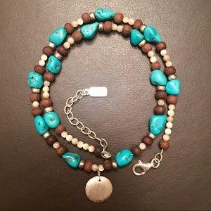 Vintage Peyote Bird Sterling & Bead Necklace